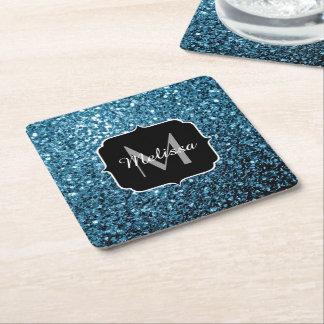 Beautiful Baby blue glitter sparkles Monogram Square Paper Coaster
