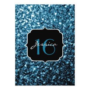Beautiful Baby blue glitter sparkles  5.5x7.5 Paper Invitation Card