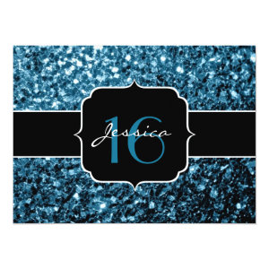 Beautiful Baby blue glitter sparkles  5.5x7.5 Paper Invitation Card