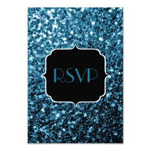 Beautiful Baby blue glitter sparkles  RSVP 3.5x5 Paper Invitation Card
