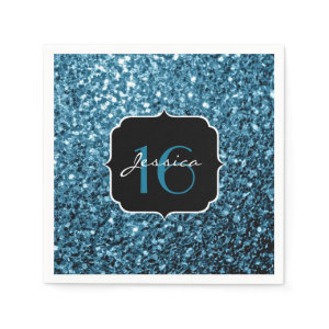 Beautiful Baby Blue sparkles Sweet 16 napkins Standard Cocktail Napkin