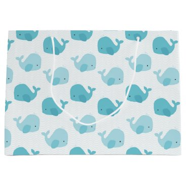 Toddler & Baby themed Beautiful Baby Blue Whales Large Gift Bag