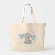 Beautiful Baby Boy Blue Elephant Large Tote Bag at Zazzle
