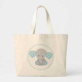 Beautiful Baby Boy Blue Elephant Large Tote Bag