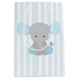 Beautiful Baby Boy Blue Elephant Medium Gift Bag