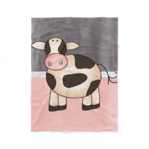 Beautiful Baby Cow Zoo Animal Fleece Blanket