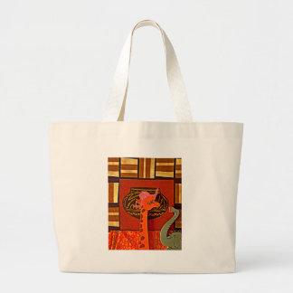 Beautiful baby funny giraffe large tote bag