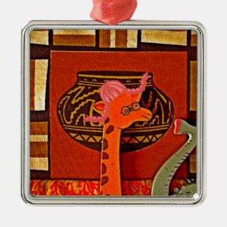 Beautiful baby funny giraffe metal ornament
