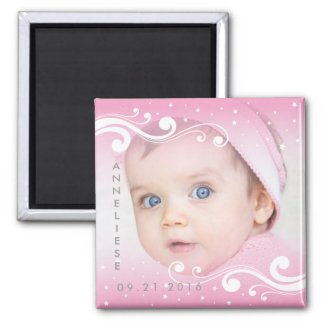Beautiful Baby Girl Photo with Name and Date Magnet