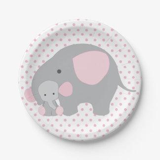 pink elephant baby shower plates zazzle