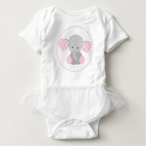 Beautiful Baby Girl Pink Elephant Baby Bodysuit