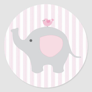 Beautiful Baby Girl Pink Elephant Classic Round Sticker