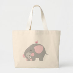Beautiful Baby Girl Pink Elephant Large Tote Bag at Zazzle