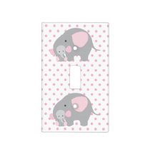 Beautiful Baby Girl Pink Elephant Light Switch Cover