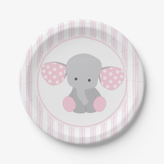 Beautiful Baby Girl Pink Elephant Paper Plate  sc 1 st  Zazzle : elephant paper plates - pezcame.com