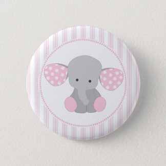Beautiful Baby Girl Pink Elephant Pinback Button
