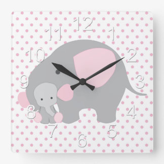 Beautiful Baby Girl Pink Elephant Square Wall Clock