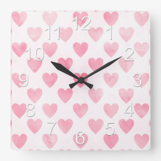 Beautiful Baby Girl Pink Heart Pattern Square Wall Clock