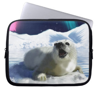 Beautiful Baby Harp Seal and Arctic Ice Art Laptop Computer Sleeve