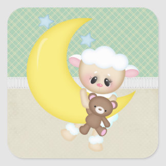 Beautiful Baby Lamb Square Stickers