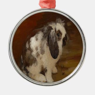 Beautiful Baby Lop Eared Rabbit/Kit Metal Ornament