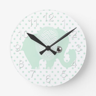 Beautiful Baby Neutral Teal Elephant Round Clock
