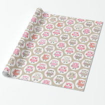 Beautiful Baby Owl Pattern in Pink Wrapping Paper