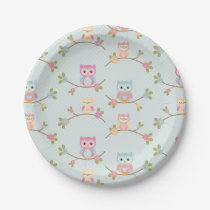 Beautiful Baby Owl Pattern Paper Plate