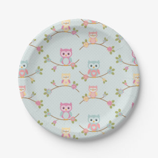 Beautiful Baby Owl Pattern Paper Plate