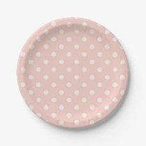 Beautiful Baby Peach Polka Dot Pattern Paper Plate