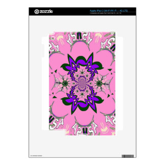 Beautiful baby pink floral purple shade motif mono decal for iPad 3