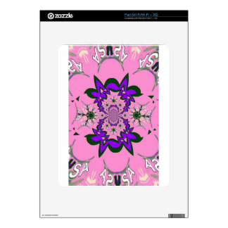 Beautiful baby pink floral purple shade motif mono decals for iPad
