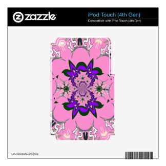 Beautiful baby pink floral purple shade motif mono iPod touch 4G decals