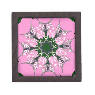 Beautiful baby pink purple shade motif monogram de gift box