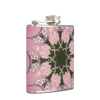 Beautiful baby pink  purple shade motif monogram hip flask