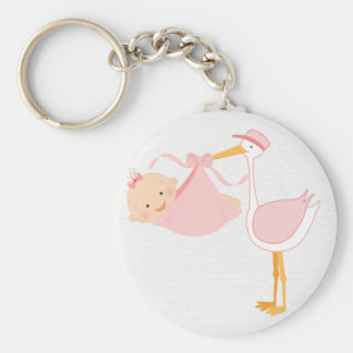 Beautiful Baby Pink Stork, It's a Girl! Basic Round Button Keychain