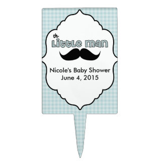 Beautiful Baby Shower Little Man Mustache Cake Topper