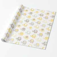 Beautiful Baby Yellow Elephant Wrapping Paper