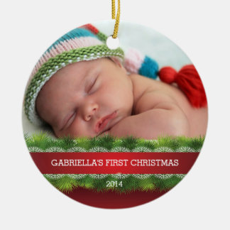 Beautiful Baby's First Christmas Photo Ornament Ornament