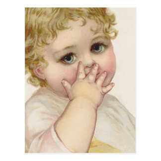 Beautiful Baby's Kiss Vintage Illustration Postcard