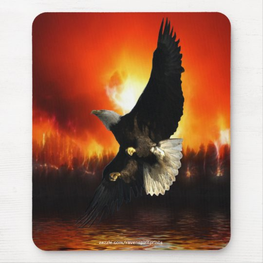 BEAUTIFUL BALD EAGLE & FOREST FIRE Mousepad