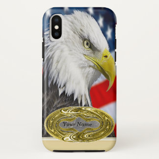 Beautiful Bald Eagle head  and a American flag 1 iPhone X Case