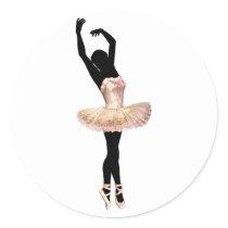 Beautiful Ballerina in pink Classic Round Sticker