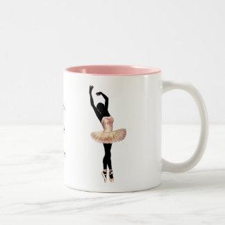 Beautiful Ballerina in pink Two-Tone Coffee Mug