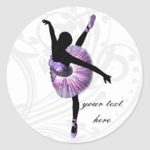 Beautiful Ballerina in purple Classic Round Sticker