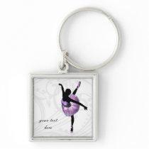 Beautiful Ballerina in purple Keychain