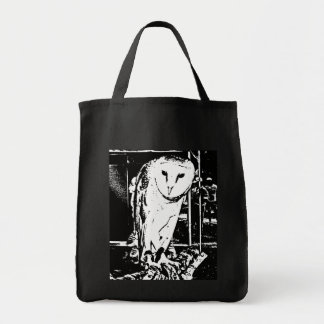 Beautiful Barn Owl in a Black & White Graphic Tote Bag