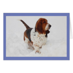 Beautiful Basset Hound on Birthday Card w/Cupcake
