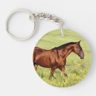 Beautiful Bay Horse Round Acrylic Keychain