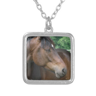 Beautiful Bay Horse Square Pendant Necklace